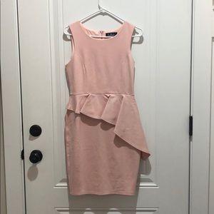 Lulus Asymmetrical Peplum Dress Pink SZ M NWT